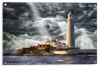 Stormy Skies at St Marys Lighthouse, Acrylic Print
