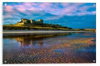 Bamburgh Castle Evening Sun, Acrylic Print