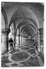 Doge's Palace Colannade - B&W, Acrylic Print