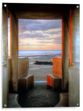 Granite Benches - Cleveleys Prom, Acrylic Print