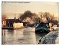 The Frozen Lancaster Canal, Acrylic Print