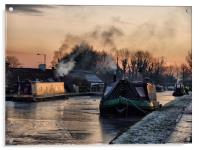 Sunset on the Frozen Lancaster Canal, Acrylic Print