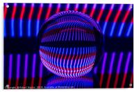 Red and Blue in the glass ball, Acrylic Print