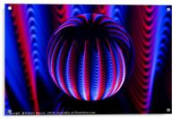 Blue and red in the glass ball., Acrylic Print