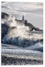Mumbles Lighthouse Waves., Acrylic Print