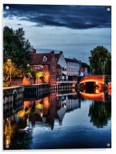 Fye Bridge, Norwich, Acrylic Print