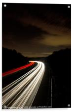Motorway light trails at Crawley, Sussex, Acrylic Print