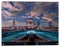 Millenium Bridge to St Pauls, Acrylic Print