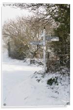 Snowy Cornish Signpost, Acrylic Print