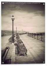 Swanage Pier Black and White Antiqued, Acrylic Print