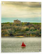 Sailing Past Pendennis, Colour Verion, Acrylic Print