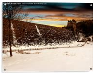 Snow at Derwent Dam, Acrylic Print