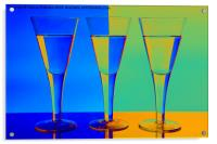 Blue & Orange Wine Glasses, Acrylic Print