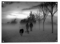 Dog walkers in the winter mist, Acrylic Print