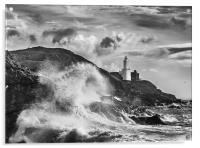 Mumbles Lighthouse Wave, Acrylic Print