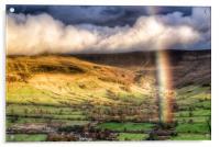 Rainbow over Edale., Acrylic Print