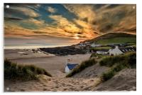 Croyde Bay Sunset, Acrylic Print