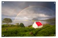 Applecross Red Roofed Cottage with Rainbows, Acrylic Print