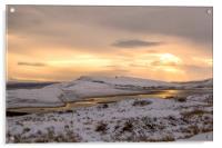 Snow Covered Trotternish Ridge Toward Sundown, Acrylic Print