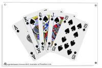 Playing Cards, Royal Flush on White Background, Acrylic Print