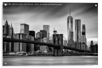 Brooklyn Bridge and trade centre, Acrylic Print