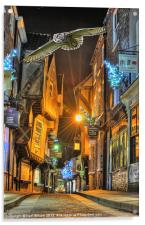 York Shambles Xmas Owl, Acrylic Print
