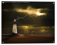 lighthouse and lightning storm, Acrylic Print