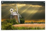 windmill with sunbeams, Acrylic Print