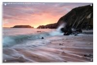 Sunset Waves at Marloes Sands, Acrylic Print