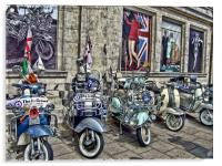 Mod scooters and 60s fashion, Acrylic Print