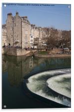 Bath River Avon Weir, Acrylic Print