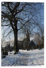 Friezland Church with snow, Acrylic Print