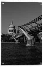 Millenium bridge and St Pauls, Acrylic Print