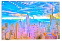 Manhattan Skyline Pop Art, Acrylic Print