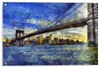 Brooklyn Bridge Van Gogh, Acrylic Print