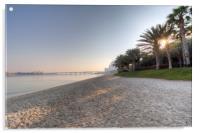 Dubai Beach Sunset, Acrylic Print