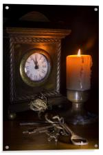 Clock, Candle and Old Keys, Acrylic Print