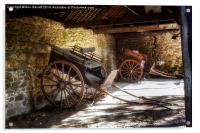 Old Barn and Horse Carriages, Acrylic Print