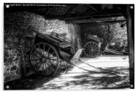 Old Barn and Horse Carriages Monochrome, Acrylic Print