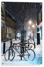 Cycles in the Snow, Acrylic Print