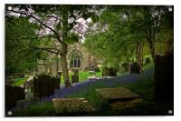 Bluebells at Fewston Church, Acrylic Print