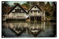 Boathouses at Goring on Thames, Acrylic Print