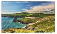 View Over Three Cliffs Bay, Acrylic Print