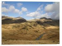 Dappled Sun On Lake District Hills, Acrylic Print