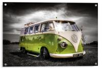 Green split screen VW camper van, Acrylic Print