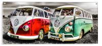 VW camper van duo, Acrylic Print