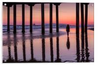 Huntingdon Beach Pier Silhouette at sunset, Acrylic Print