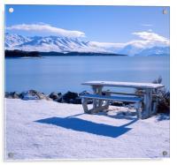 Lake Pukaki, Picnic Area with Mount Cook, Acrylic Print