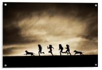 Silhouettes of running Girls and Dogs , Acrylic Print