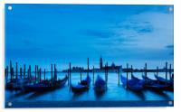 Moving Gondolas  at Twilight, Venice., Acrylic Print